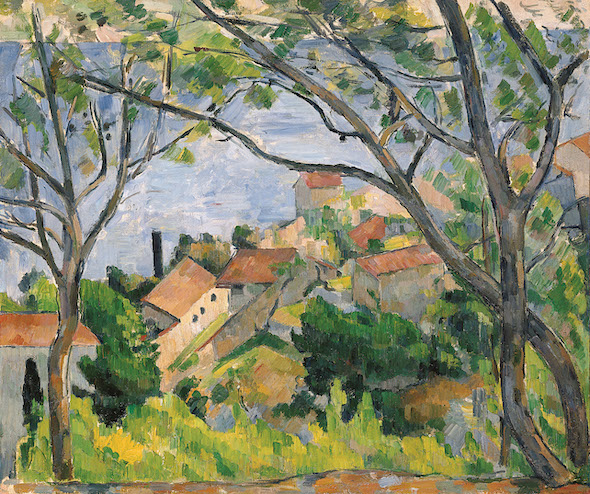 Paul Cézanne-Vue de l'Estaque à travers les arbres