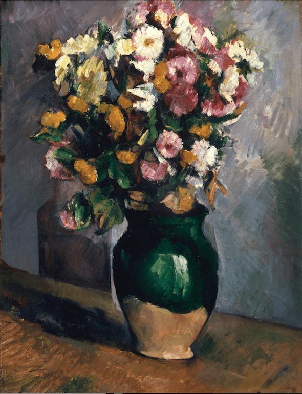Paul Cézanne-Nature morte aux fleurs dans un pot d'olives-Fleurs-