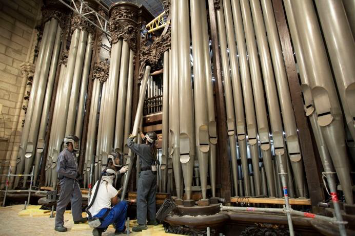 Orgue de la cathédrale Notre-Dame de Paris-restauration après l'incendie
